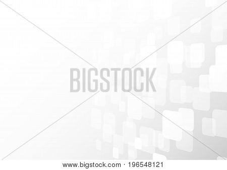 Abstract white perspective square shapes overlap on gray gradient background with soft light. Vector illustration