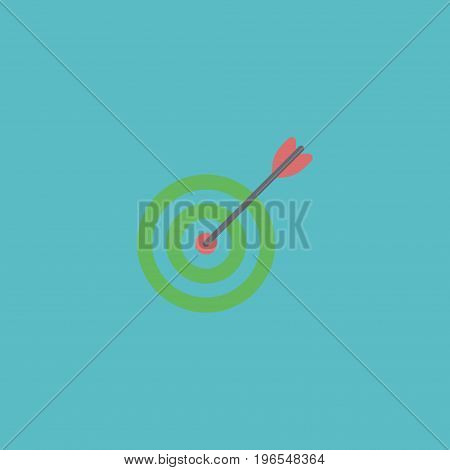 Flat Icon Target Element. Vector Illustration Of Flat Icon Goal Isolated On Clean Background