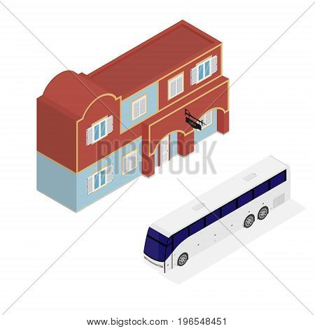 Hotel Facade And Bus Isometric