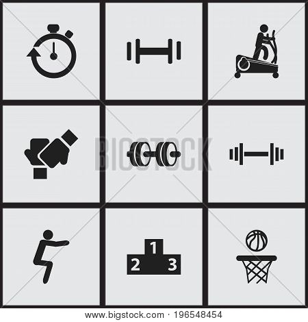 Set Of 9 Editable Training Icons. Includes Symbols Such As Platform For Winner, Stopwatch, Crossbar And More