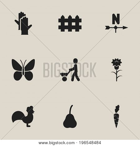 Set Of 9 Editable Gardening Icons. Includes Symbols Such As Breeze Direction, Rooster, Duchess And More