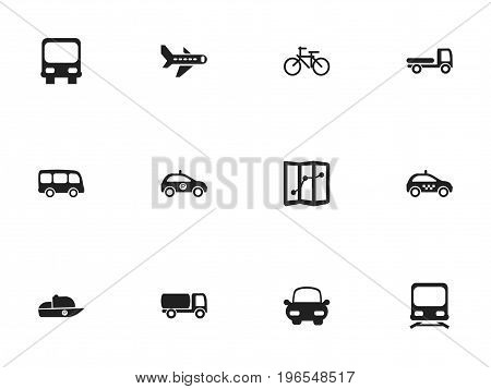 Set Of 12 Editable Transport Icons. Includes Symbols Such As Wagon, Navigation, Autobus And More