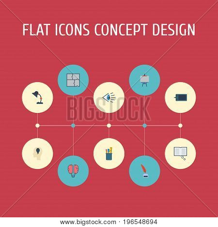 Flat Icons Pencil, Bulb, Case And Other Vector Elements