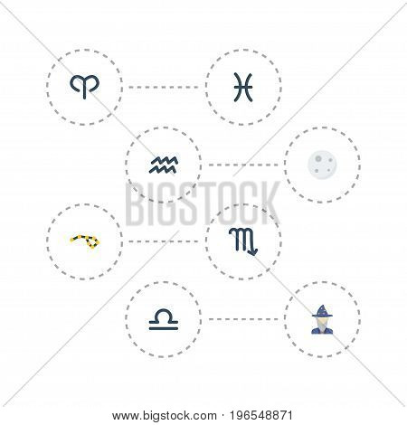 Flat Icons Lunar, Horoscope, Ram And Other Vector Elements
