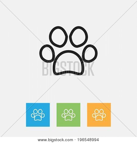 Vector Illustration Of Zoology Symbol On Paw Outline