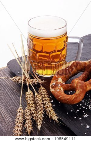 Beer In A Mug. Oktoberfest Salted Soft Pretzels And Beer From Ge