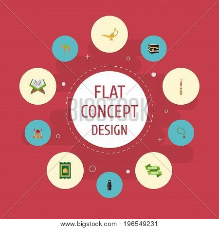 Flat Icons Minaret, Mecca, Muslim Woman And Other Vector Elements