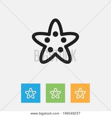 Vector Illustration Of Animal Symbol On Sea Star Outline