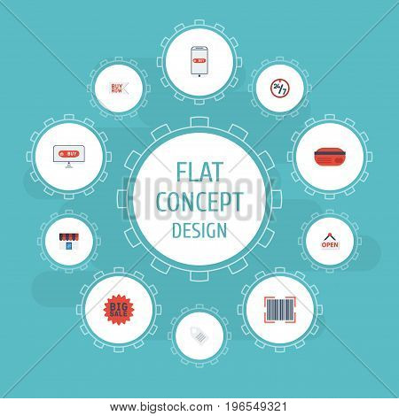Flat Icons Label, Qr, Support And Other Vector Elements