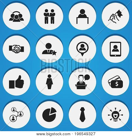 Set Of 16 Editable Business Icons. Includes Symbols Such As Payment, Businessman, Circle Diagram And More
