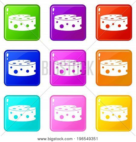Cheese icons of 9 color set isolated vector illustration