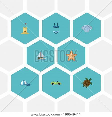 Flat Icons Conch, Tortoise, Castle And Other Vector Elements
