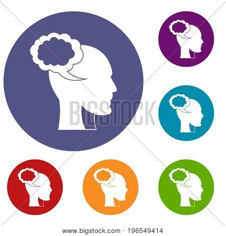 Speech bubble with human head icons set in flat circle red, blue and green color for web