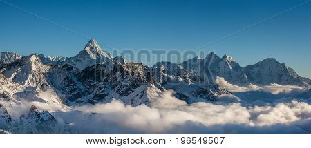 Great panoramic landscapes of the Himalayas in the Khumbu Valley in Nepal