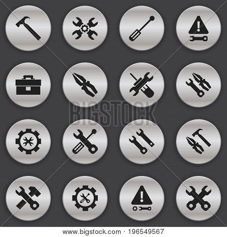 Set Of 16 Editable Toolkit Icons. Includes Symbols Such As Warning, Settings, Pliers Hammer And More