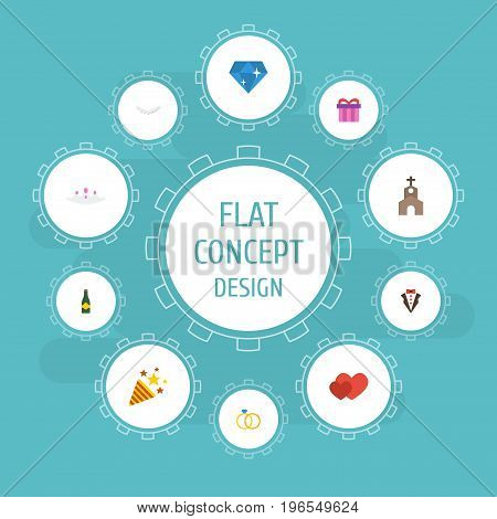 Flat Icons Accessories, Fizz, Bridegroom Dress And Other Vector Elements