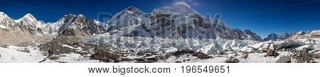 Great panoramic landscapes of the Himalayas at the Everest base camp in the Khumbu Valley in Nepal