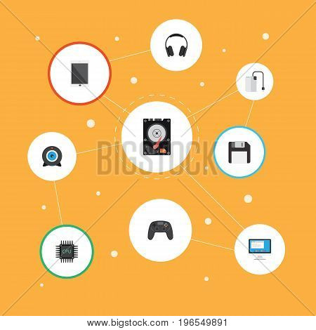 Flat Icons Display, Hard Disk, Storage Device And Other Vector Elements