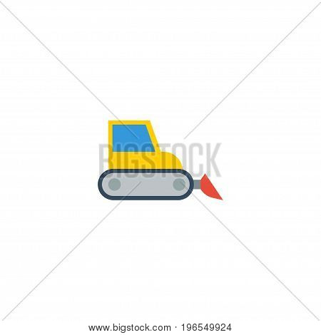 Flat Icon Harvester Element. Vector Illustration Of Flat Icon Bulldozer Isolated On Clean Background