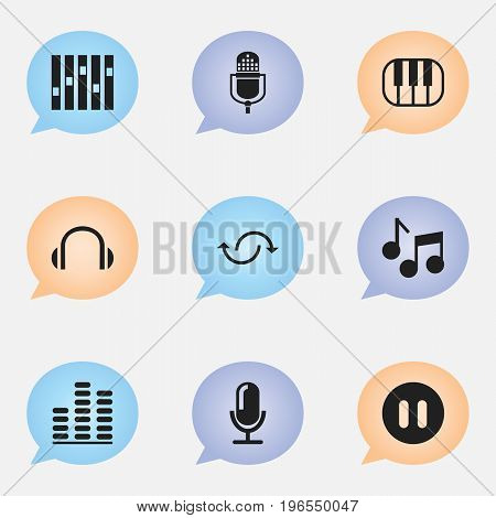 Set Of 9 Editable Audio Icons. Includes Symbols Such As Media Interview, Microphone, Headphones And More