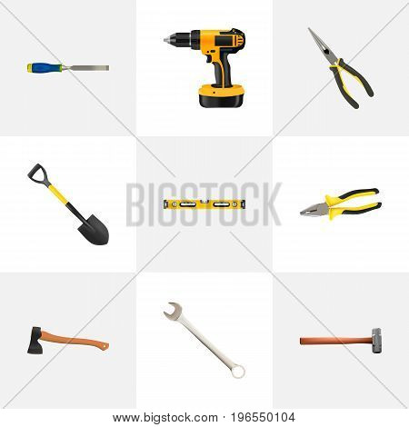 Realistic Pliers, Spade, Spanner And Other Vector Elements