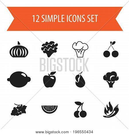 Set Of 12 Editable Dessert Icons. Includes Symbols Such As Avocado, Honeycrisp, Broccoli And More