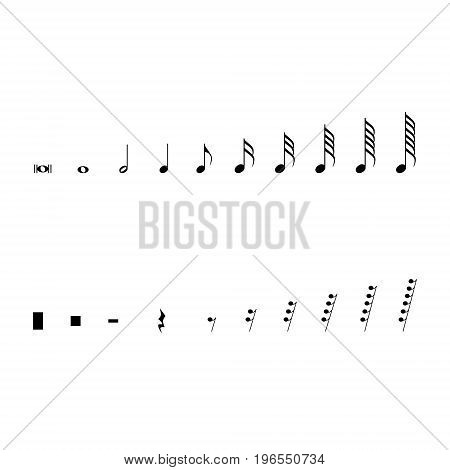 Vector illustration musical notes and pauses. Black music symbols isolated on white. Music notation sign set