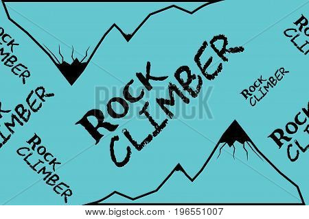Kinesio tape horizontal seamless pattern or background. Rock climber mountain, blue sport textile fabric vector