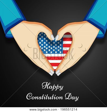 illustration of hands with heart design in USA flag background with Happy Constitution Day text on the occasion of USA Constitution Day