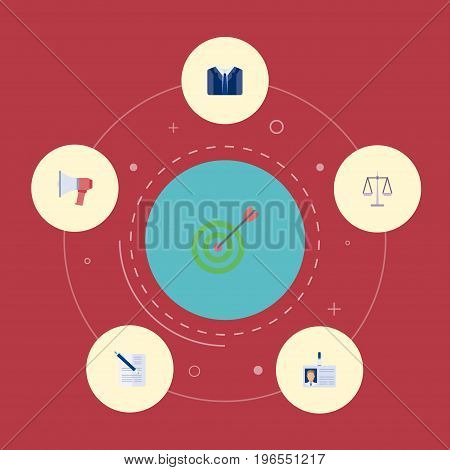 Flat Icons Contract, Loudspeaker, Id Card And Other Vector Elements