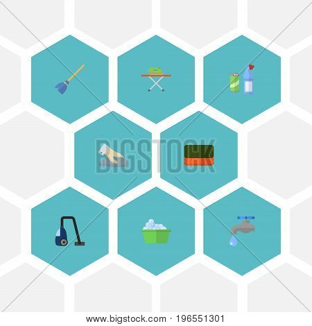 Flat Icons Besom, Wisp, Sweeper And Other Vector Elements