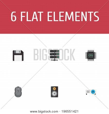 Flat Icons Computer Mouse, Presentation, Amplifier And Other Vector Elements