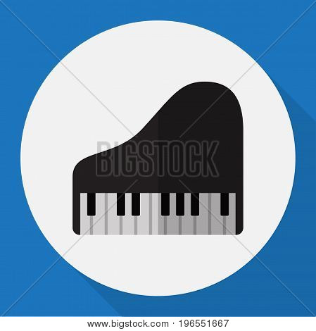 Vector Illustration Of Melody Symbol On Royal Flat Icon
