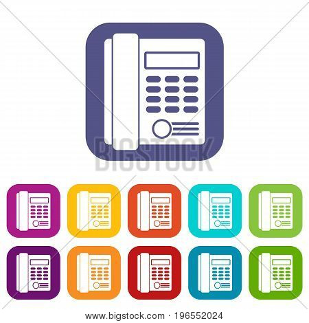 Office business keypad phone icons set vector illustration in flat style in colors red, blue, green, and other