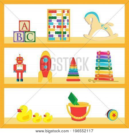 Vector illustration baby kids toys on wood shop shelves. Different children toys set collection