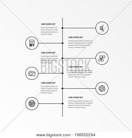 Set Of 6 Editable Business Outline Icons. Includes Symbols Such As 50 Sale, Atm, Speaking Man And More