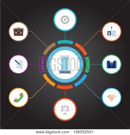 Flat Icons Contract, Id Card, Libra And Other Vector Elements