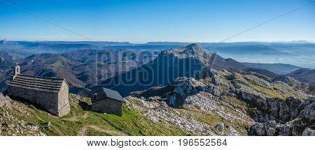 Refuge view from Aizkorri mountain top peak near Zegama Basque Country