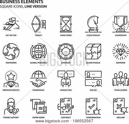 Business Elements, Square Icon Set