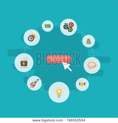 Flat Icons Income, Gear, Rocket And Other Vector Elements