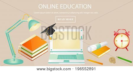 Education concept banner for online education, training courses, distance trainings, e-learning