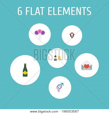 Flat Icons Posy, Bridegroom Dress, Fizz And Other Vector Elements