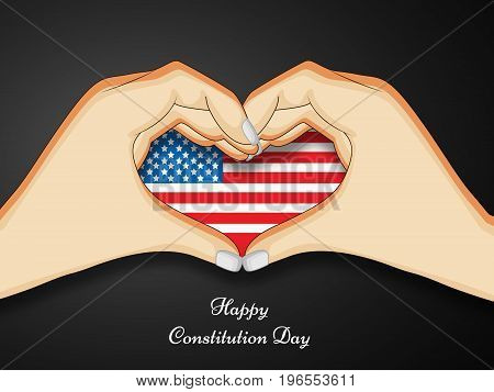 illustration of hands in heart design with Happy Constitution Day text