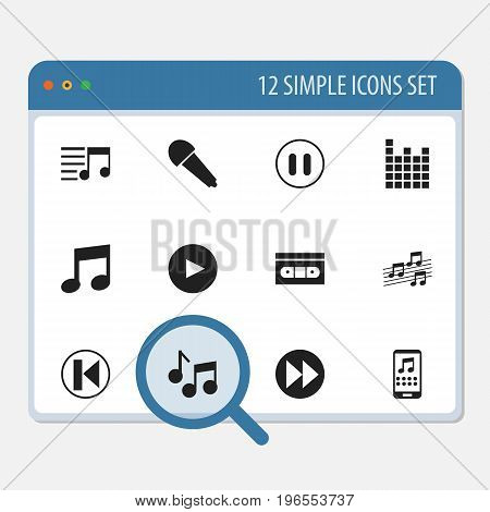 Set Of 12 Editable Multimedia Icons. Includes Symbols Such As Sound Controlling, Studio Mic, Music And More