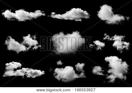 Set of isolated clouds on black background