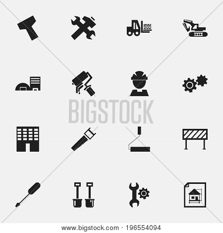 Set Of 16 Editable Structure Icons. Includes Symbols Such As Roller, Estate, Handle Hit