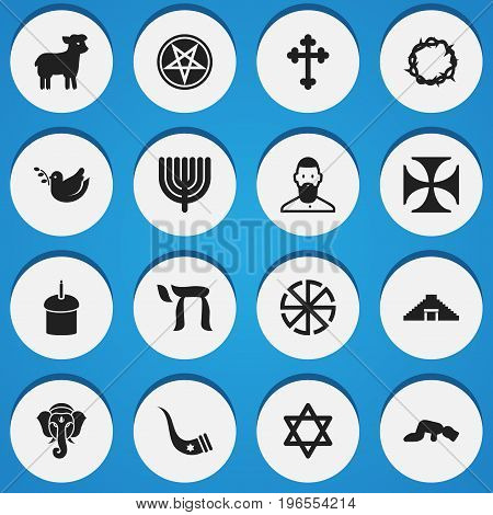 Set Of 16 Editable Religion Icons. Includes Symbols Such As Solar Emblem, Sajdah, Hexagram And More