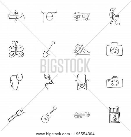 Set Of 16 Editable Trip Doodles. Includes Symbols Such As Campfire Cooking, Hiker, Camp House And More
