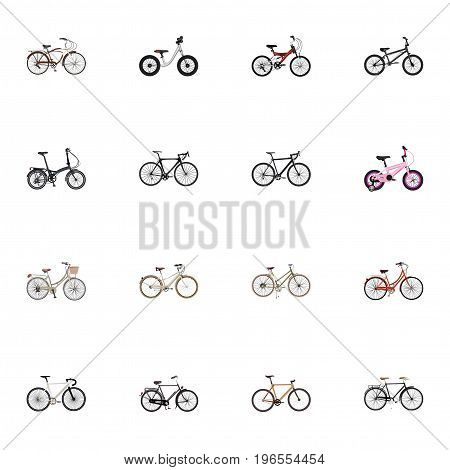 Realistic Old, Journey Bike, Childlike And Other Vector Elements