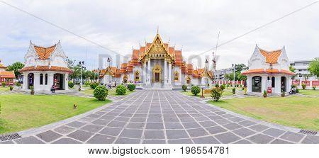 Bangkok , Thailand - 18 July, 2017: Panorama of Wat Benchamabophit Dusitwanaram landmark in Bangkok, Thailand / Outside of Wat Benchamabophit Dusitwanaram